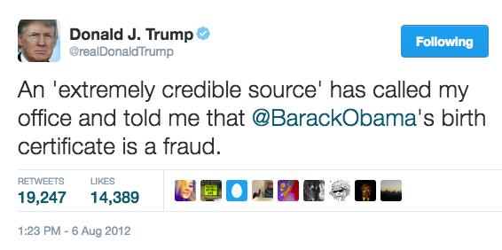 Trump Credible Birther